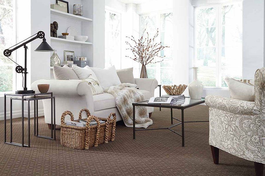 Living room with fur and wicker textures