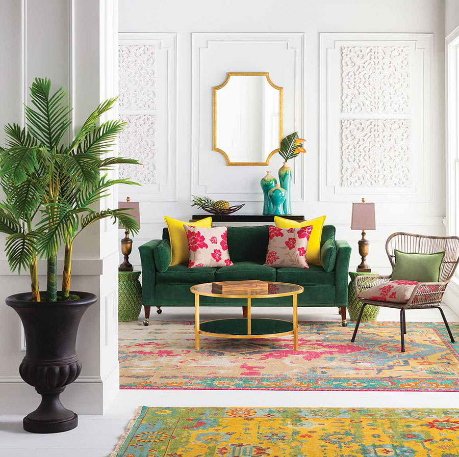 Tropical interior design with abstract decor