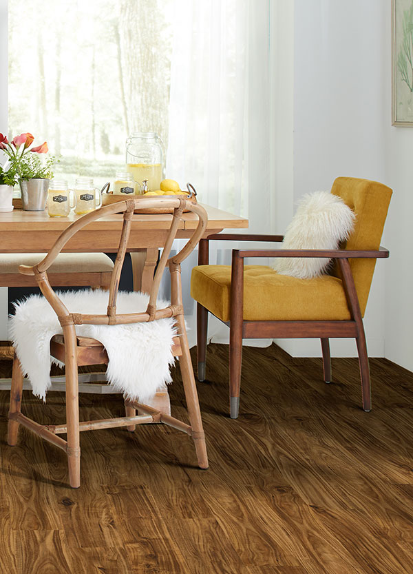 kitchen table with mustard yellow chair