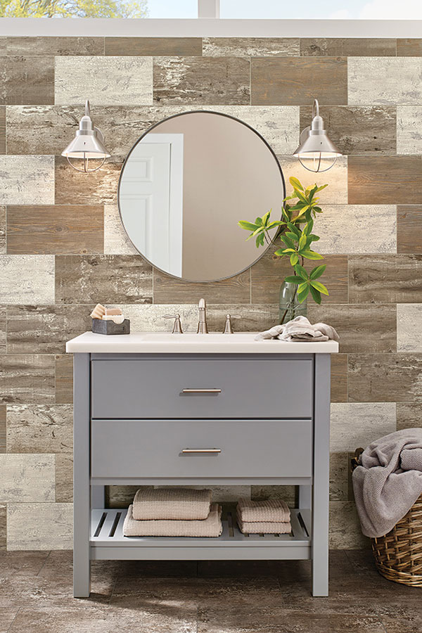 Modern bathroom vanity with tiled backsplash wall