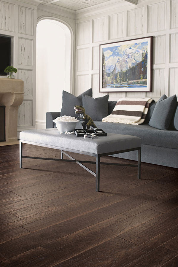 dark engineered wood floor in living room