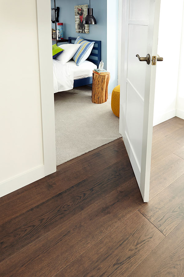 hallway with vinyl flooring