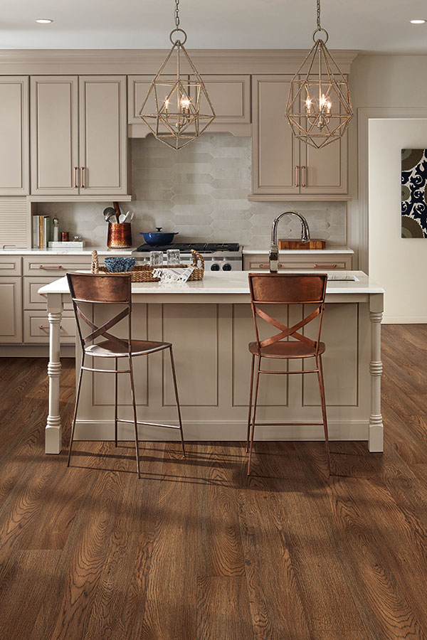 Kitchen with walnut hardwood floor