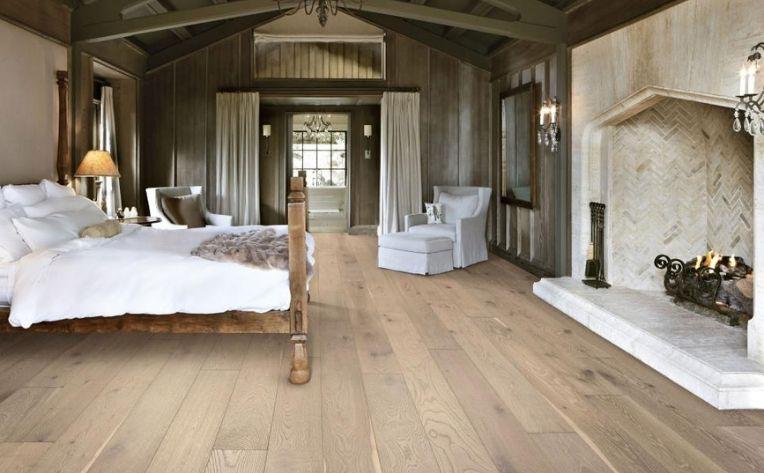 bedroom with white oak flooring