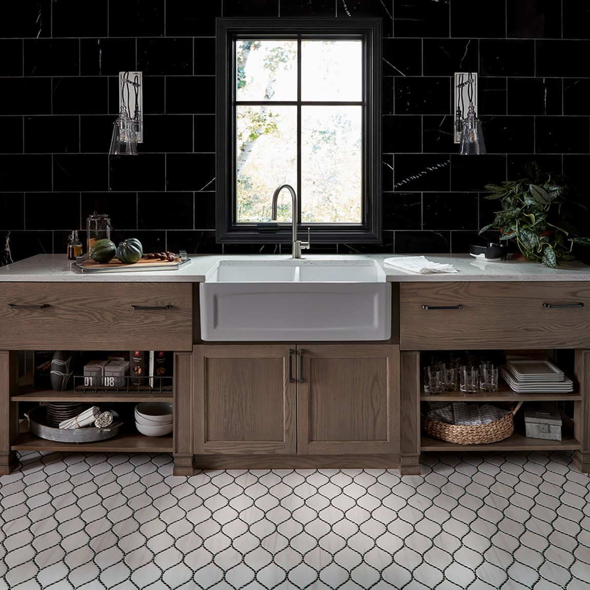 cafe style kitchen with mosaic tile