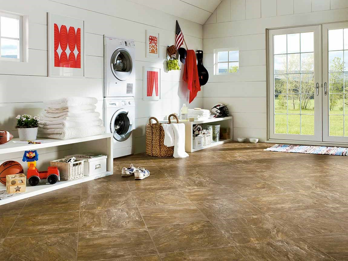 ceramic tile flooring in large mudroom laundry room