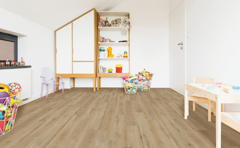 children room with laminate floors
