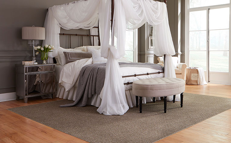 relaxing bedroom with white canopy