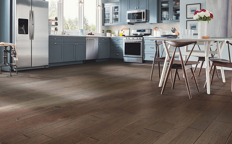 Dark kitchen hardwood flooring