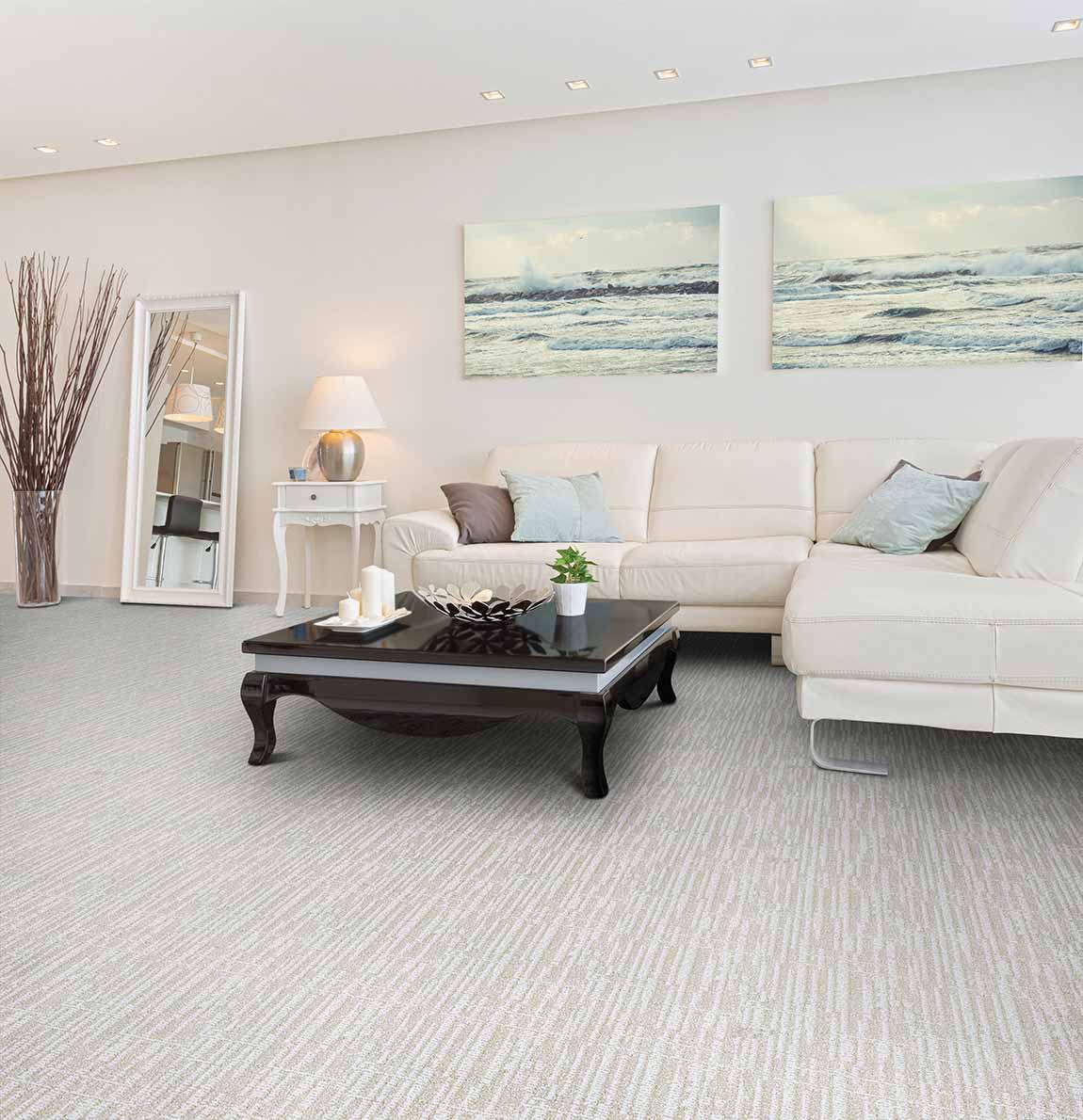 Coastal Beach House Living Room Whites-Neutrals Carpet ...