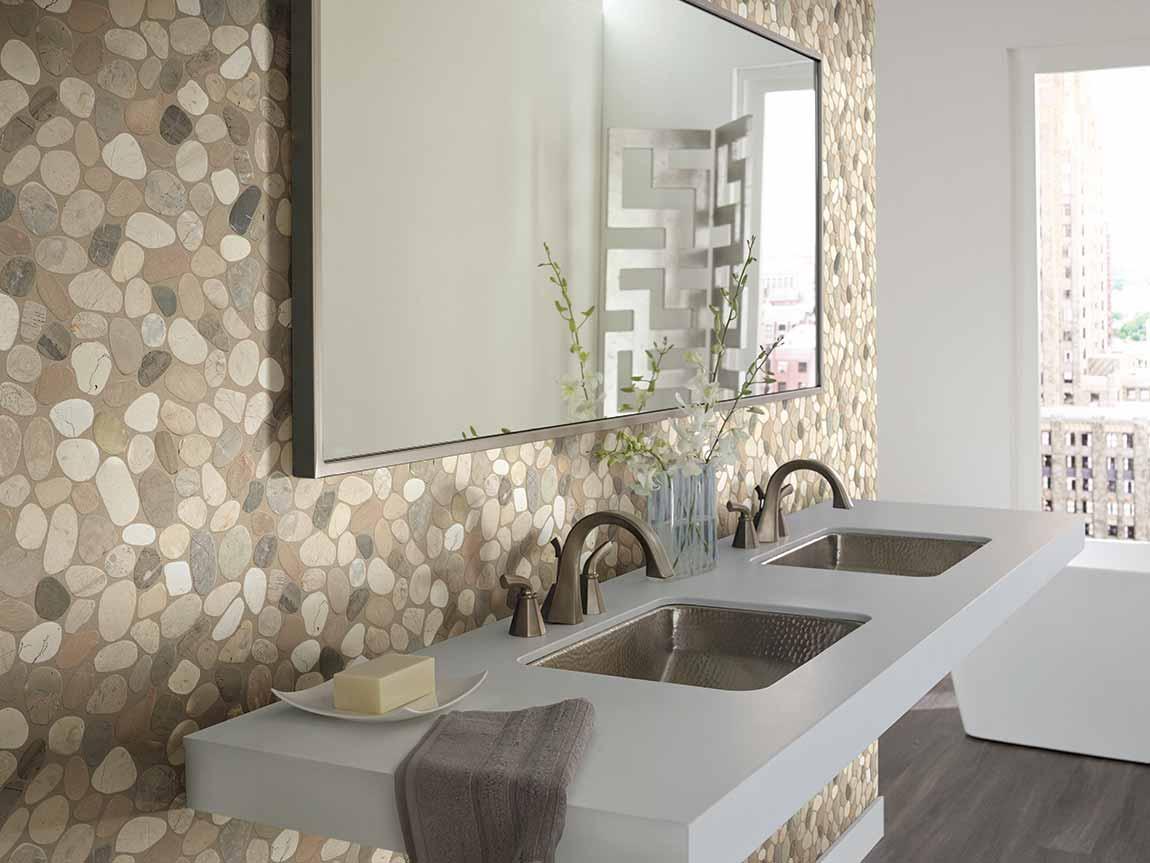 Eclectic Bathroom Medium Tile Stone Design & Ideas   Flooring America