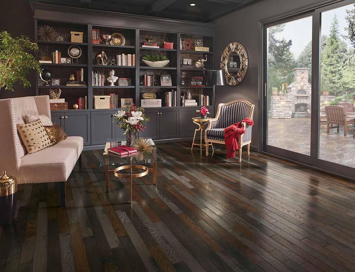 Eclectic Living Room Dark Tile Stone Design Ideas