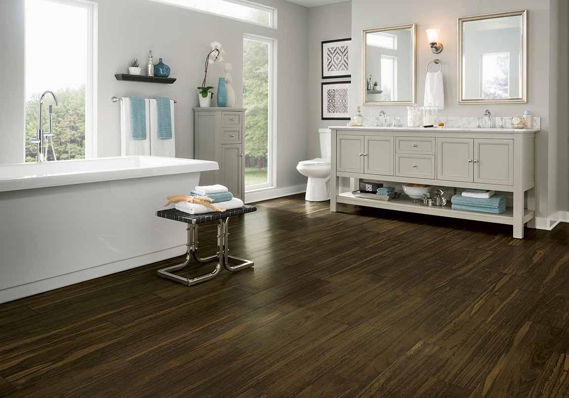 Modern Contemporary Bathroom Dark Wood Look Design Ideas Flooring America