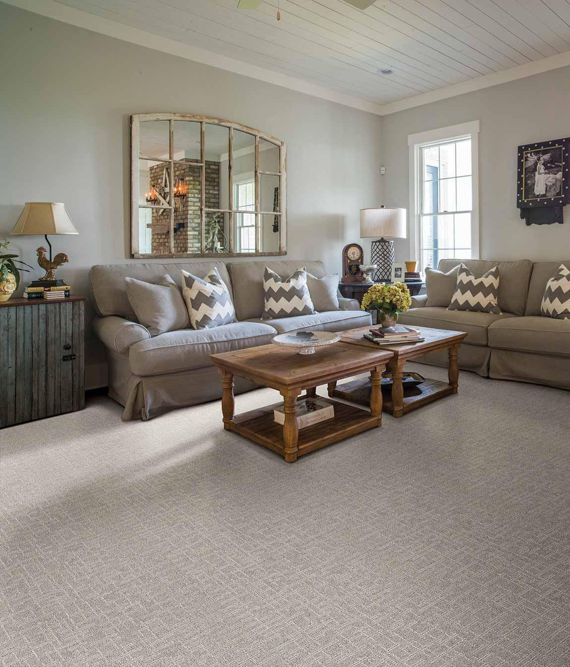 Carpeted Rustic Farmhouse Living Room Flooring Designs ...