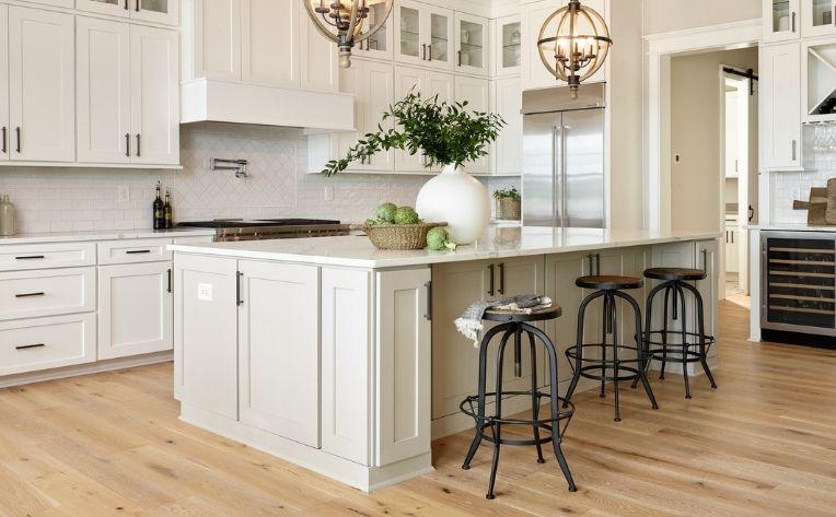 kitchen with white oak flooring