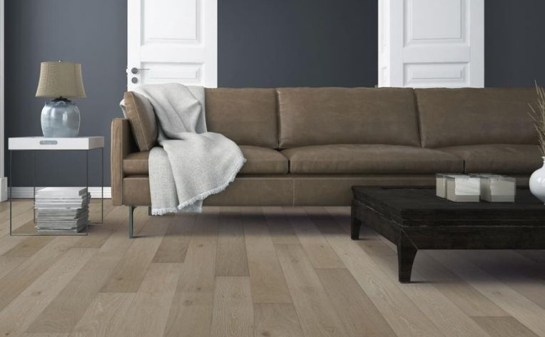 living room with red oak flooring
