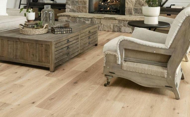 living room with white oak flooring